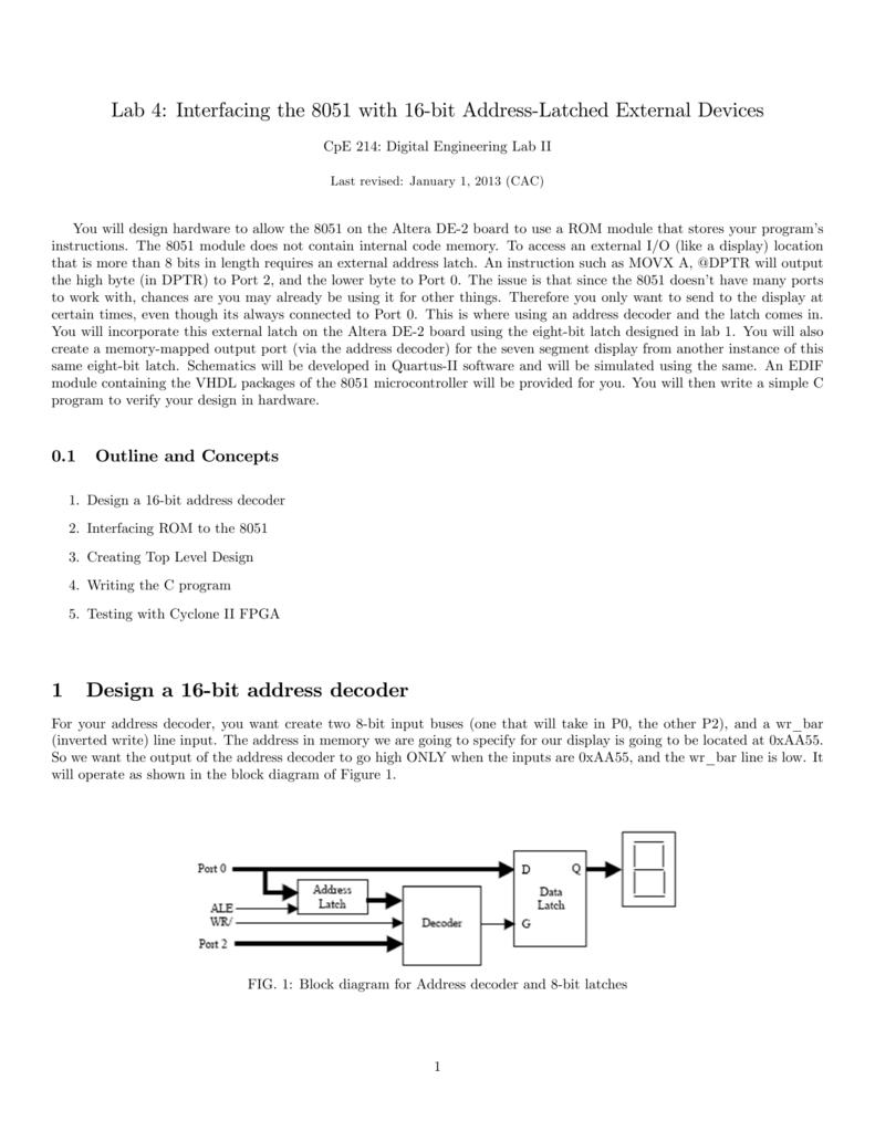Interfacing The 8051 With 16 Bit Address Level 1 Block Diagram