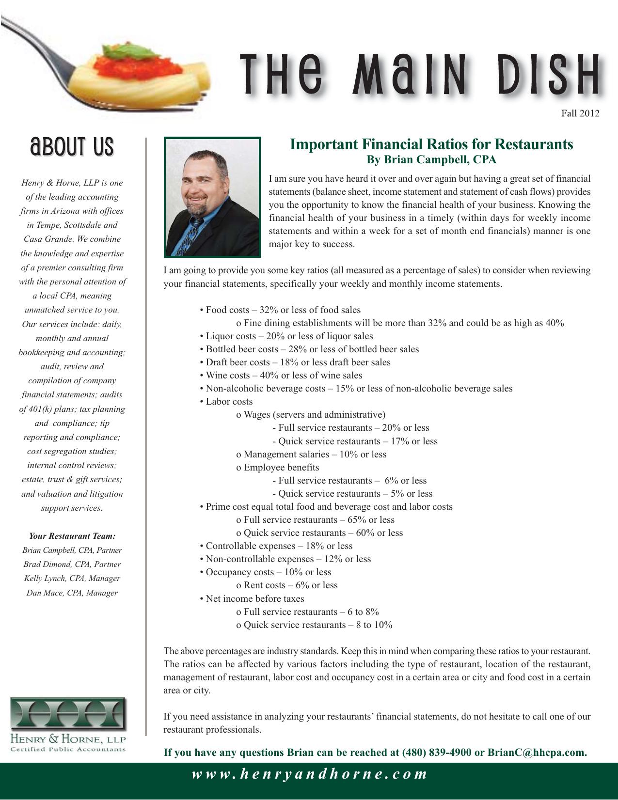Important Financial Ratios for Restaurants