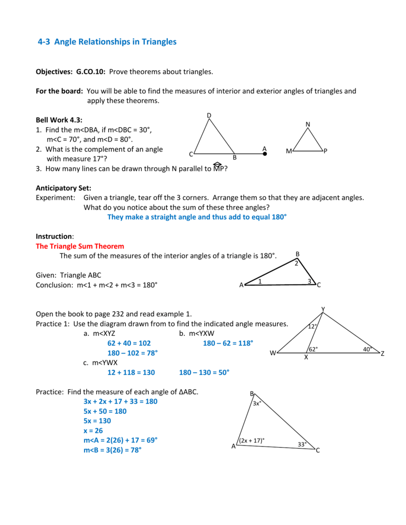 4.3 Angle Relationships in Triangles