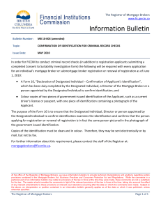 MB 10-003 amended CONFIRMATION OF IDENTIFICATION FOR