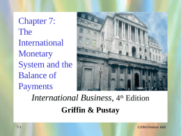 Chapter 7: The International Monetary System and the Balance of