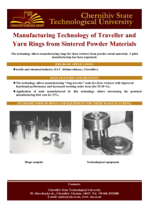 Manufacturing Technology of Traveller and Yarn Rings from