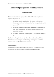 Writing on a play: Henrik Ibsen's Hedda Gabler