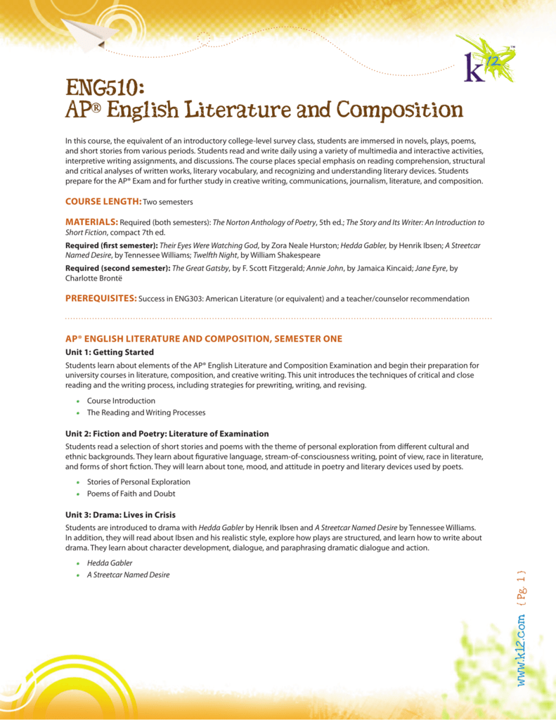 ENG510: AP® English Literature and Composition