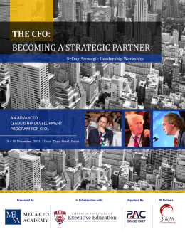 THE CFO: BECOMING A STRATEGIC PARTNER