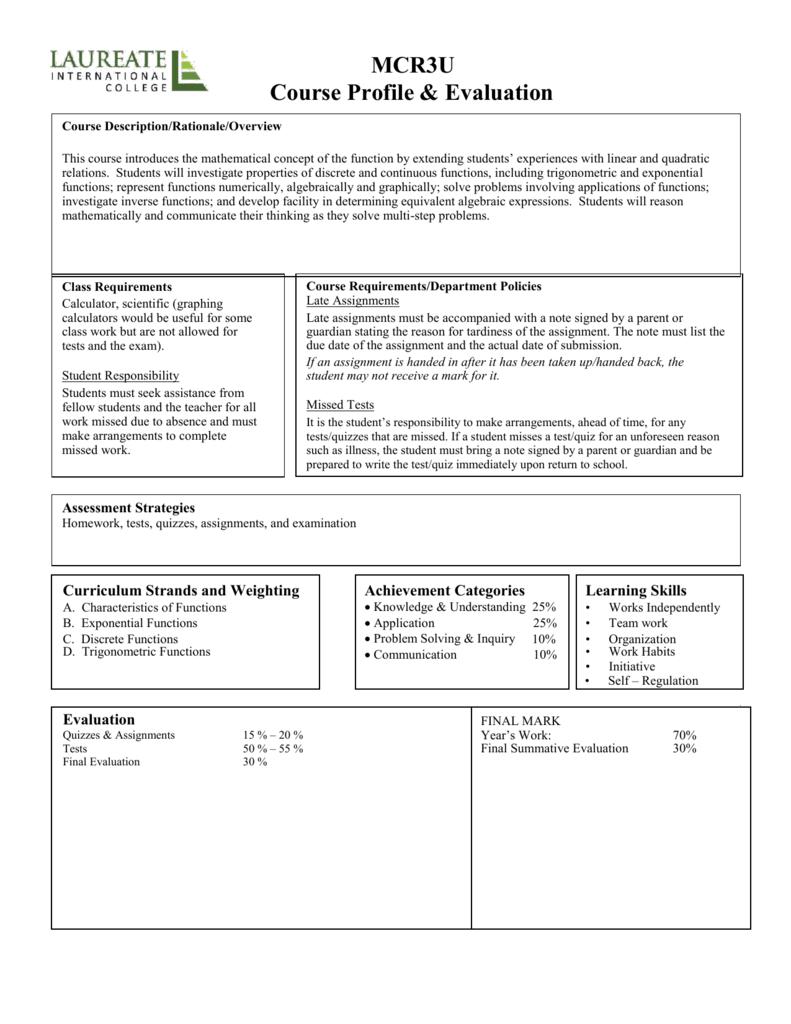 MCR3U Course Profile & Evaluation