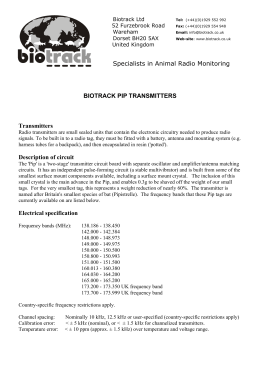 Specialists in Animal Radio Monitoring BIOTRACK PIP