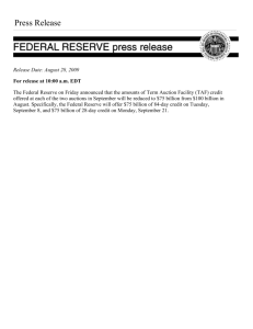 Federal Reserve Announces Amounts of Term Auction Facility (TAF