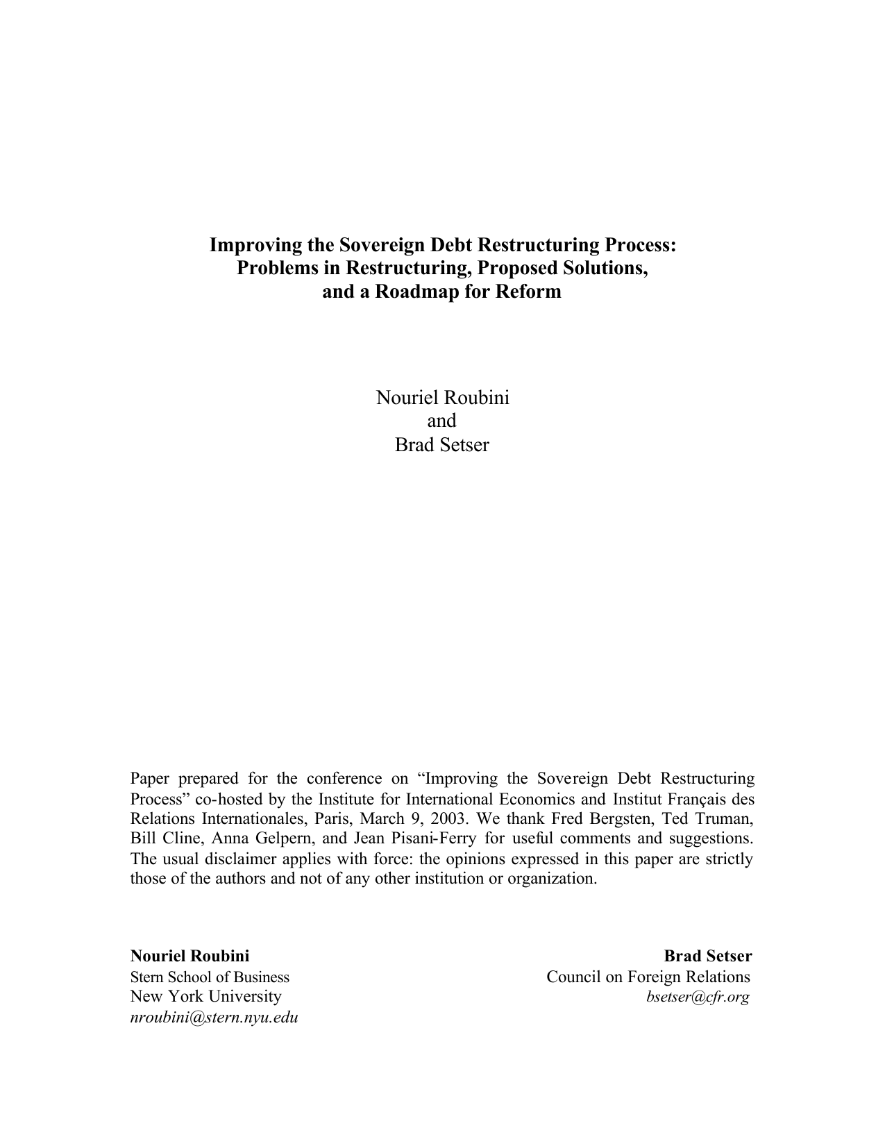 Paper: Improving the Sovereign Debt Restructuring Process