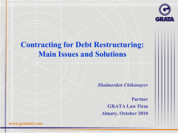 Contracting for Debt Restructuring
