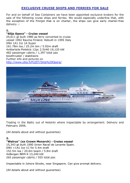 EXCLUSIVE CRUISE SHIPS AND FERRIES FOR SALE