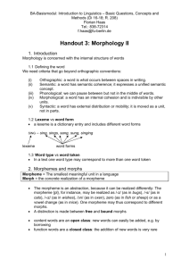 Handout Morphology