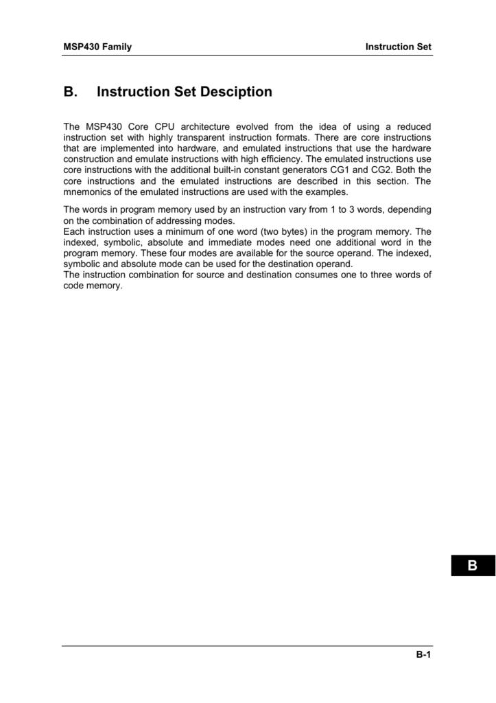 Msp430 Instruction Set Mcmaster Physics And Astronomy