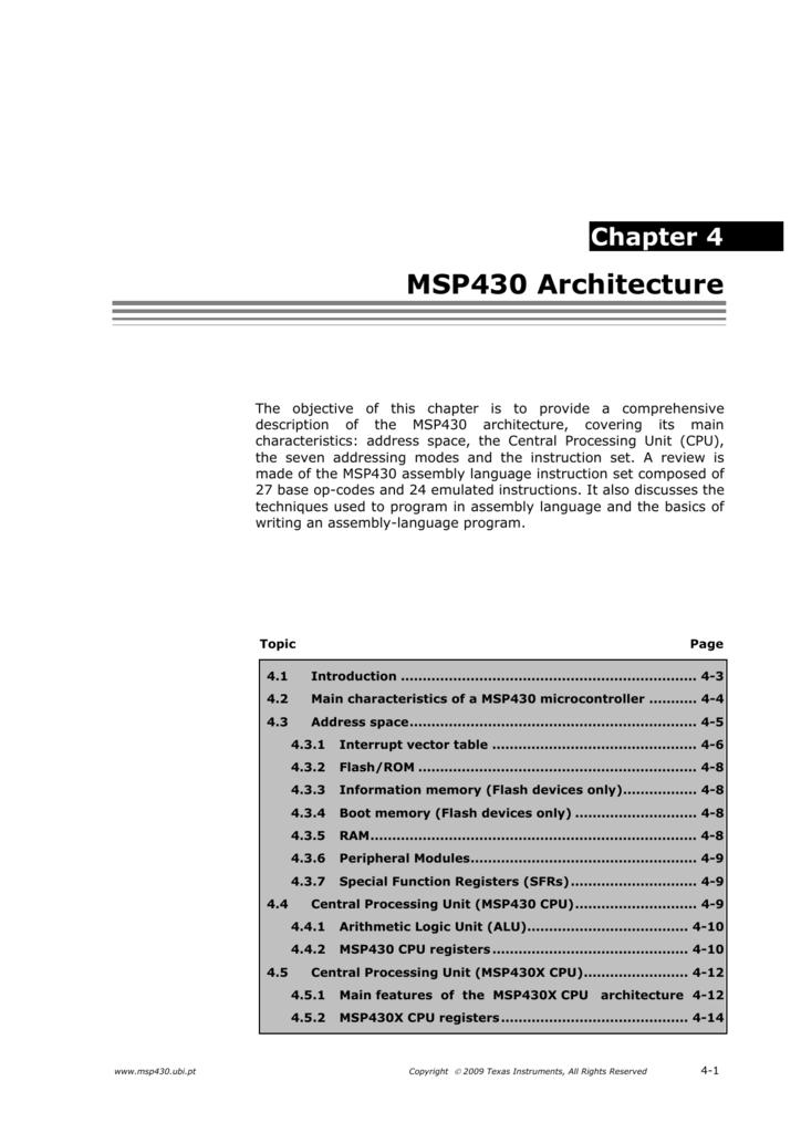 4 Msp430 Architecture