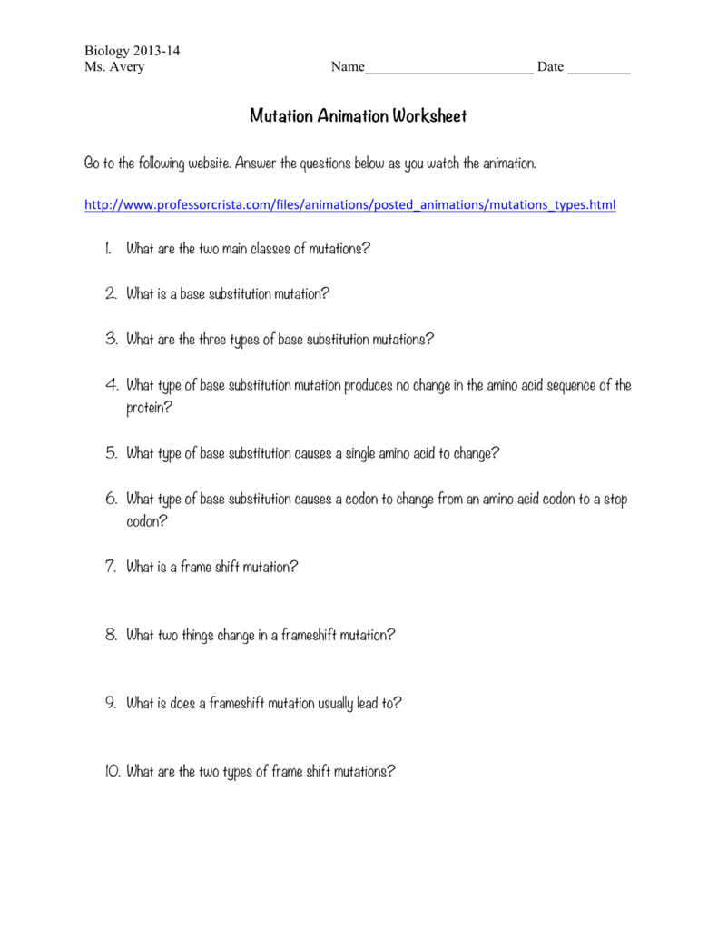mutations activity worksheet answer key biology