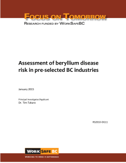 Assessment of beryllium disease risk in pre