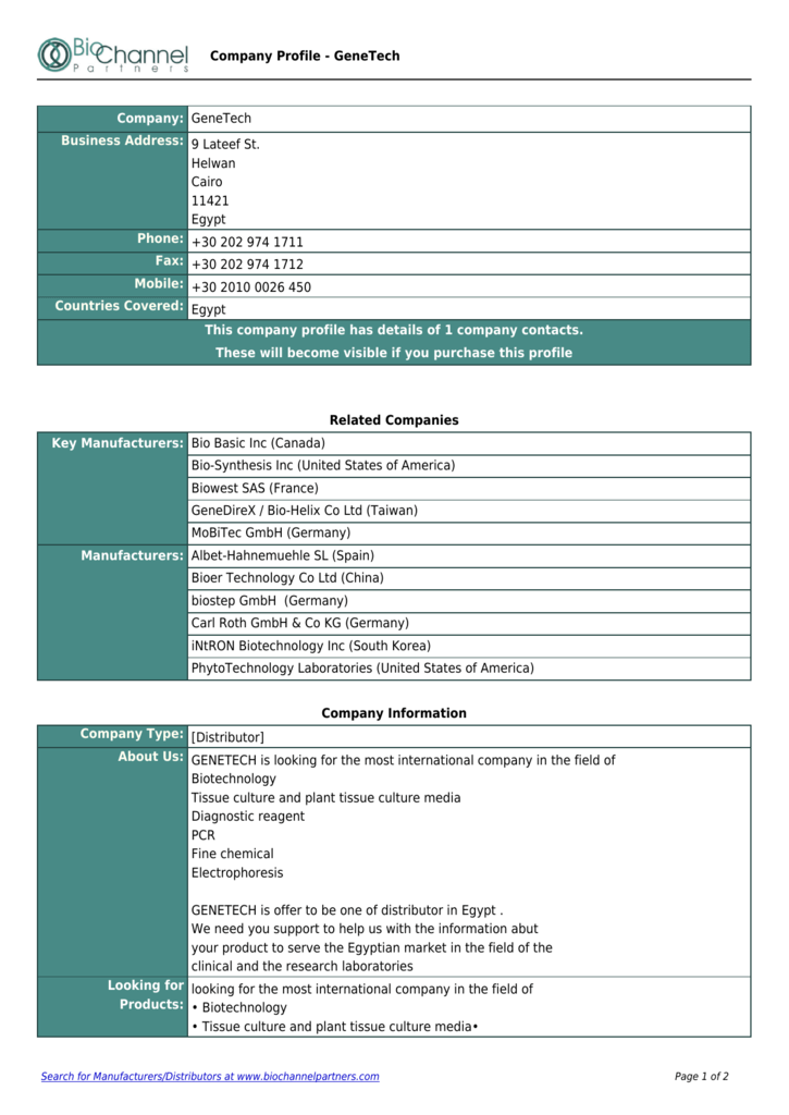 Company Profile - BioChannel Partners