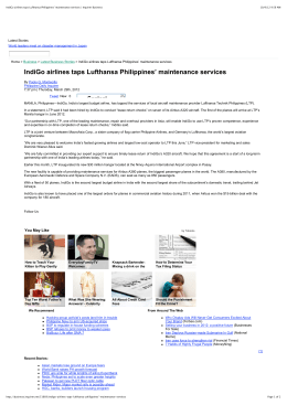 IndiGo airlines taps Lufthansa Philippines' maintenance services