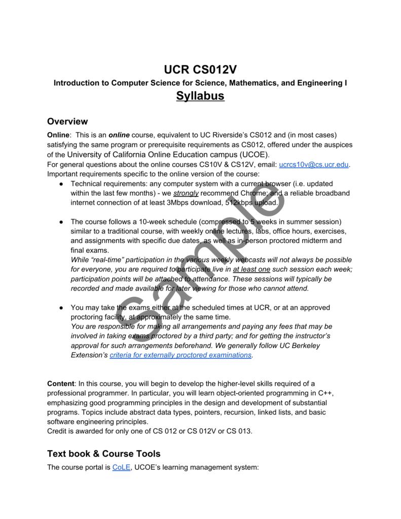UCR CS012V Syllabus - University of California Online