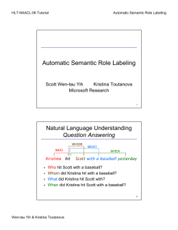 Automatic Semantic Role Labeling - The Stanford Natural Language