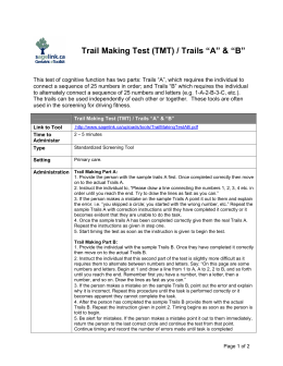 "Trail Making Test (TMT) / Trails ""A"" & ""B"""