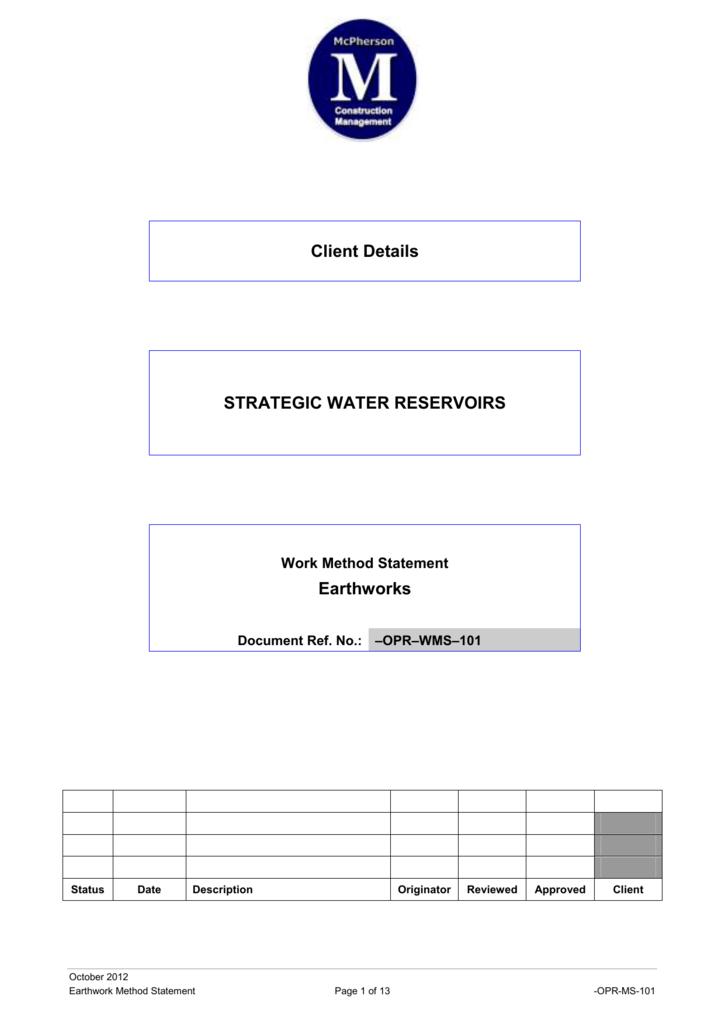 Example Method Statement  - Construction Planning, Programming