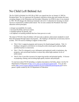 Title I No Child Left Behind Act Summary