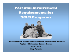 Parental Involvement Requirements for NCLB Programs