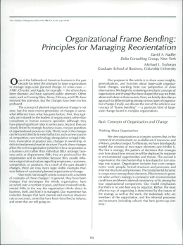 Organizational Frame Bending: Principles for Managing Reorientation