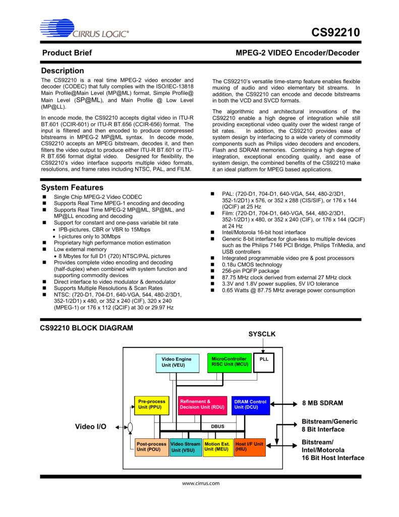 Cs92210 Mpeg 2 Block Diagram 008399830 1 6def52b9f3973121a70125c5efef8b1a
