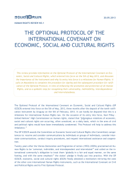 the optional protocol of the international covenant on economic