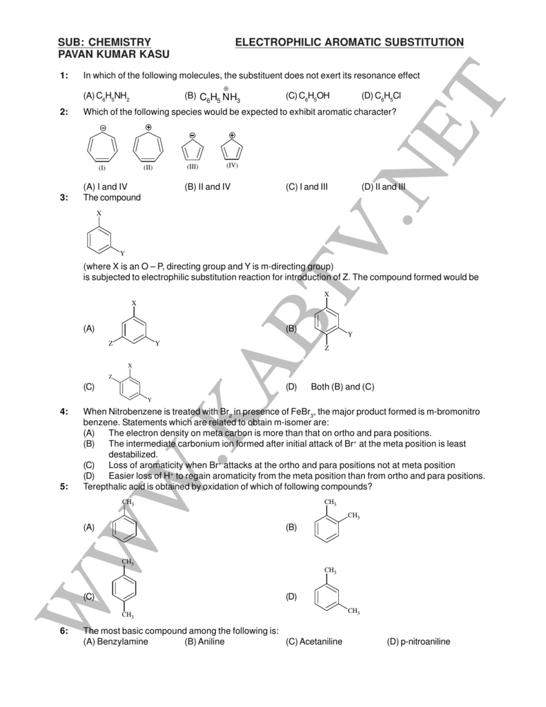 sub: chemistry electrophilic aromatic substitution pavan