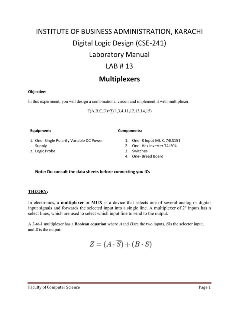 Laboratory Manual Lab   13 Multiplexers