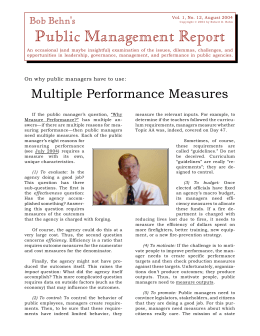 Multiple Performance Measures - Kennedy School of Government