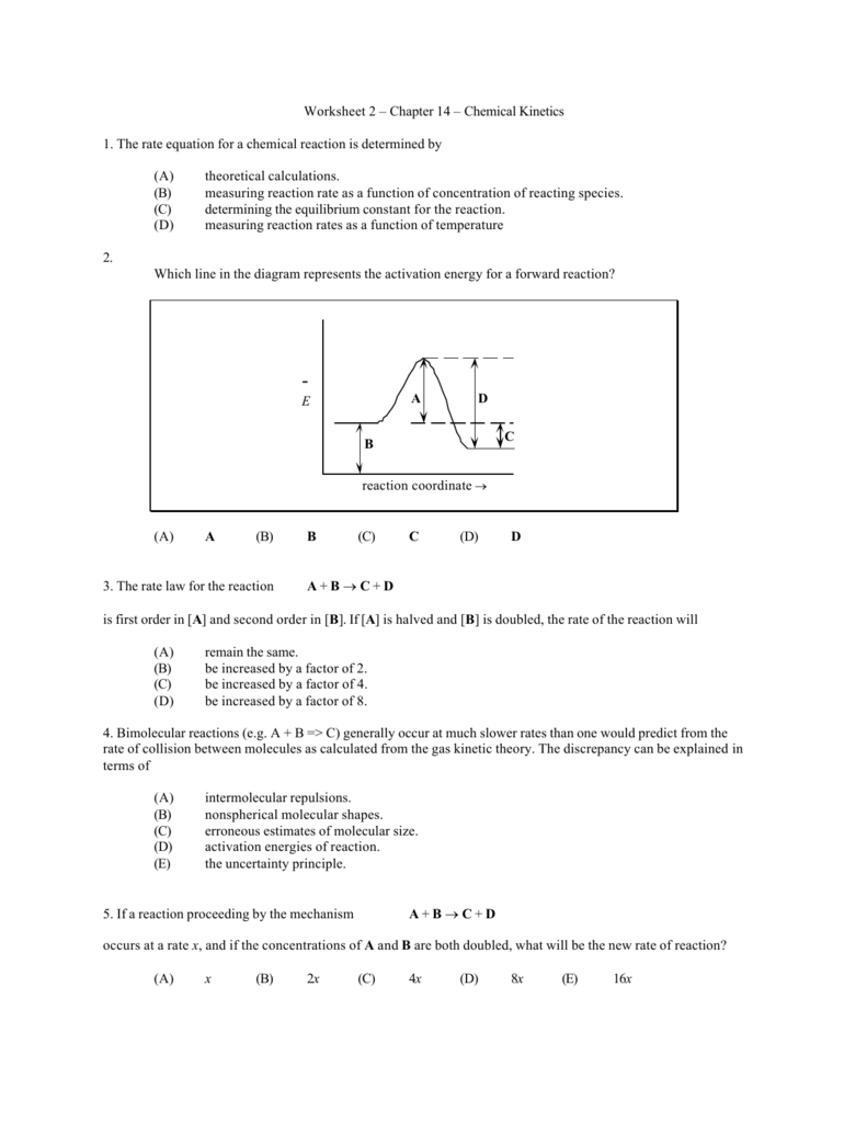 Worksheet 2 Chapter 14 Chemical Kinetics 1 The Rate