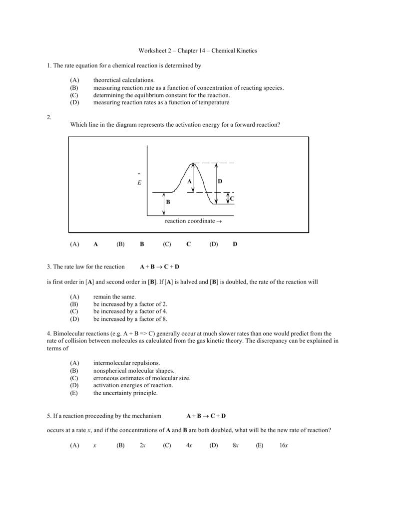 worksheet Rate Law Worksheet worksheet 2 chapter 14 chemical kinetics 1 the rate equation
