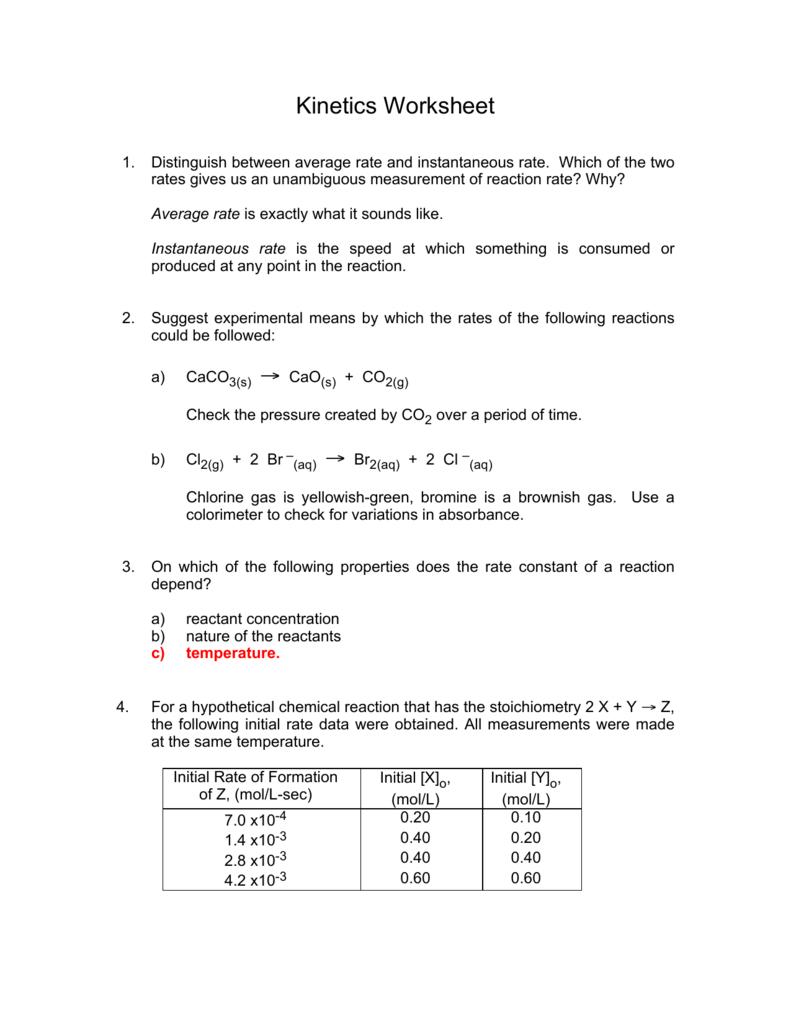 Kinetics Worksheet