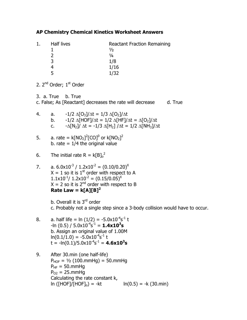 Ap Chemistry Chemical Kinetics Worksheet Answers 1 Half Lives