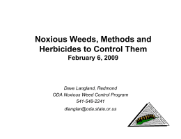 Noxious Weeds, Methods and , Herbicides to Control Them