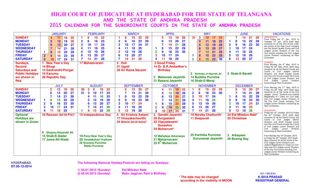 Andhra Pradesh High Court 2015 Calendar