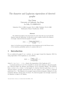 The diameter and Laplacian eigenvalues of directed graphs
