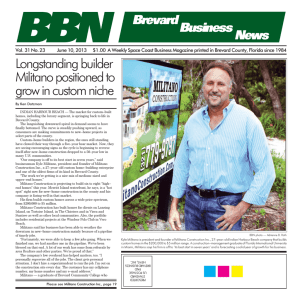 Longstanding builder Militano positioned to grow in custom niche