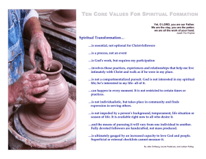 ten core values for spiritual formation