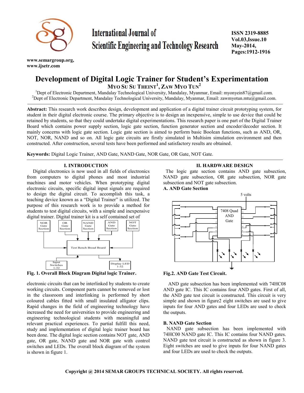 Development Of Digital Logic Trainer For Students Experimentation Nand Gate Circuit Diagram