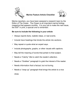Marine Feature Article Checklist Marine reporters, you have been