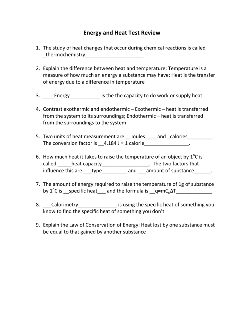 Energy and Heat Test Review