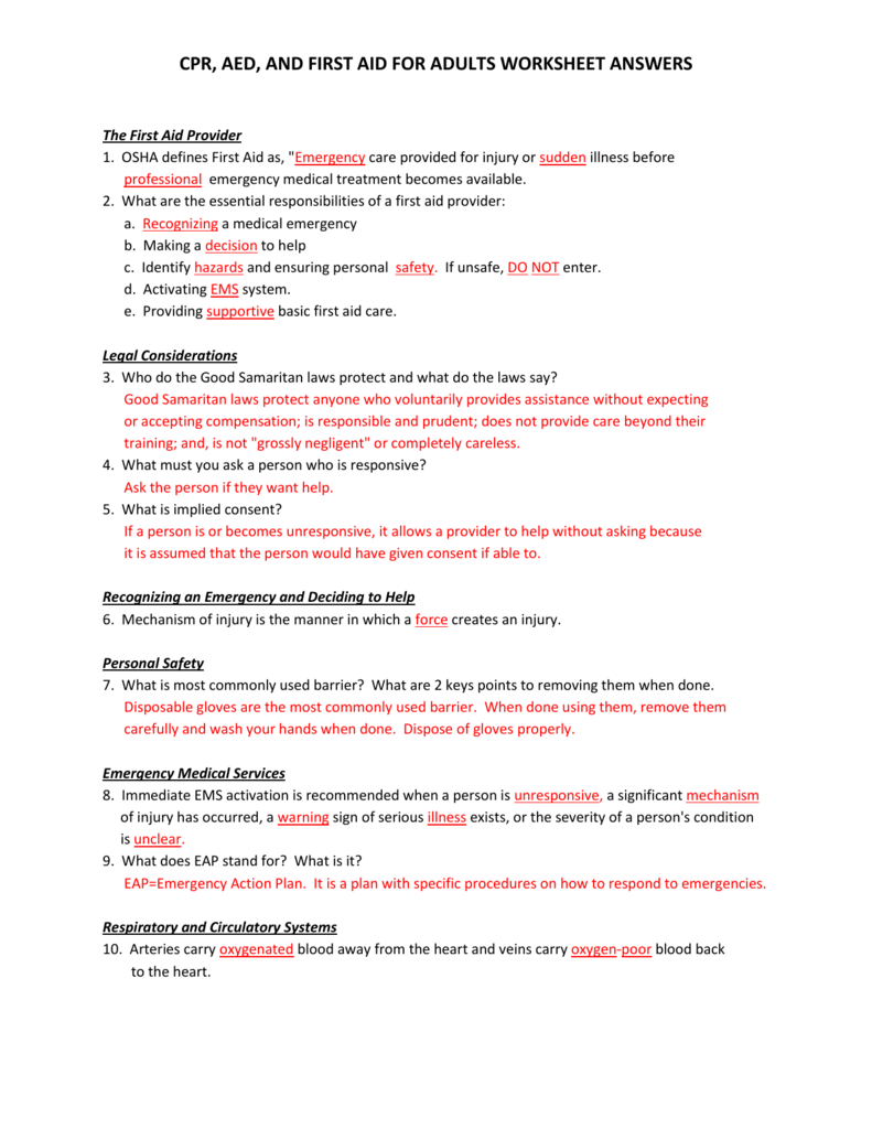 CPR, AED, AND FIRST AID FOR ADULTS WORKSHEET ANSWERS