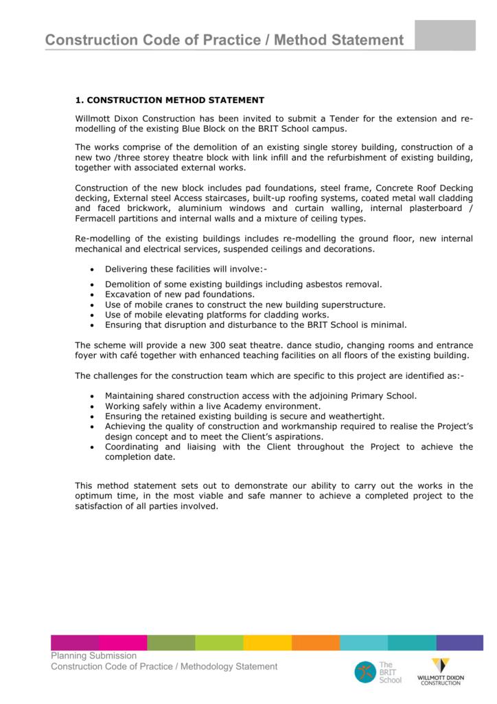 Construction Code Of Practice Method Statement