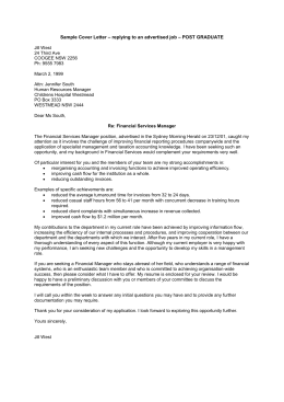 Sample Cover Letter – replying to an advertised job – POST