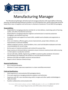 Manufacturing Manager
